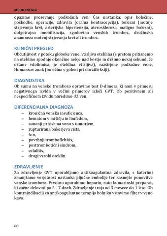 tromboflebitis, hipertenzija)