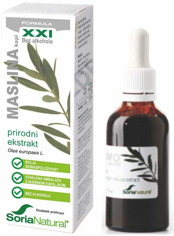 Maslina, list, bezalkoholni integralni ekstrakt 50 mL - Soria Natural
