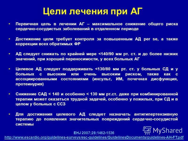 Ciljevi hipertenzije za hipertenziju