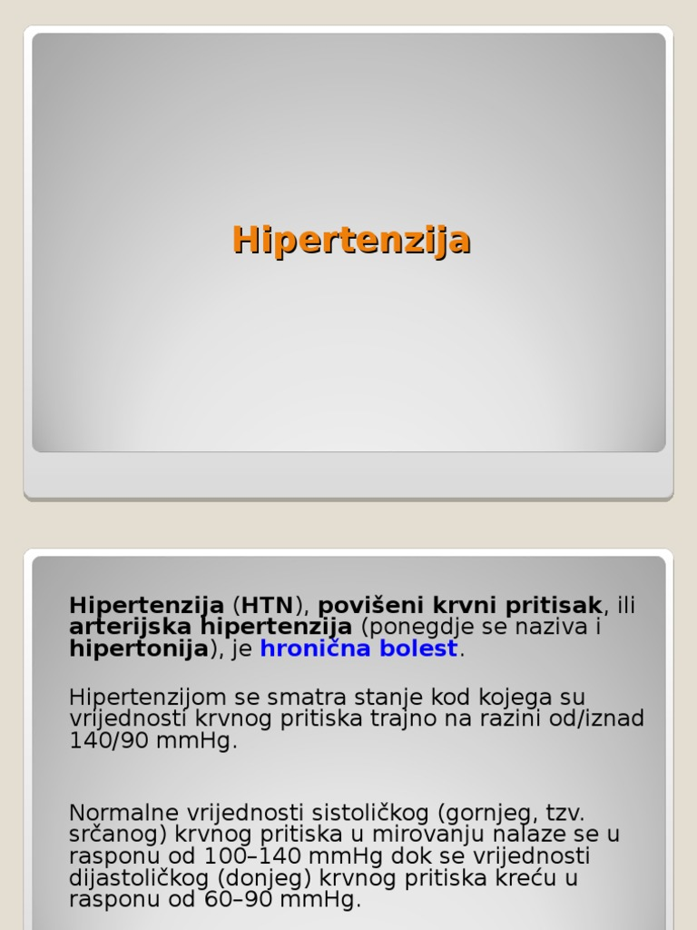hipertenzije, bolesti organa sustava)