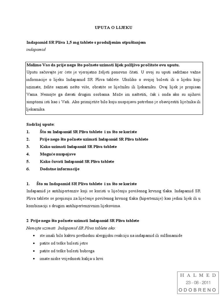 hipertenzija uzeti indapamid nat. preporuke za liječenje hipertenzije