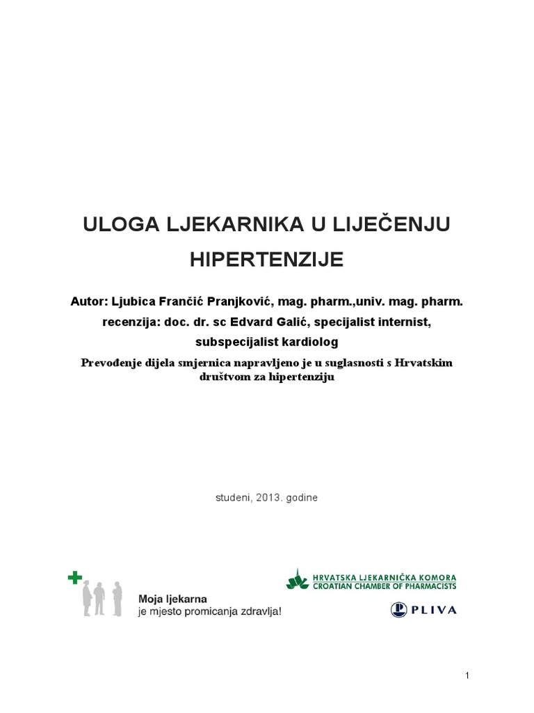 nedavna preporuke za liječenje hipertenzije)